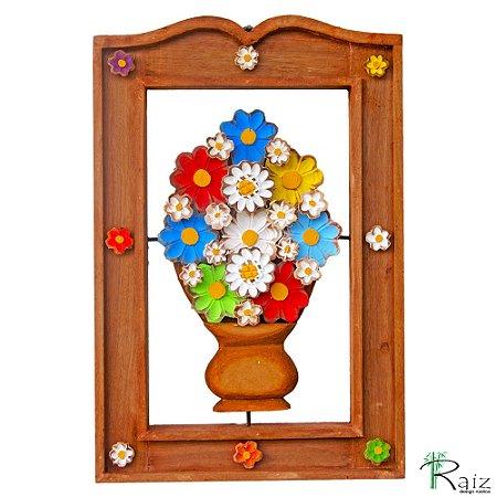 Quadro Vaso de Flores Coloridas Vazado Madeira Moldura Encerada 54cm