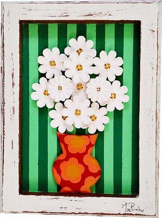 Quadro Vaso de Flores Listras Verde Linha Moderna (40x30cm)