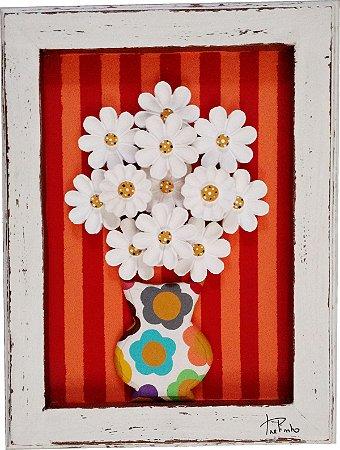Quadro Vaso de Flores Listras Vermelhas Linha Moderna (40x30cm)