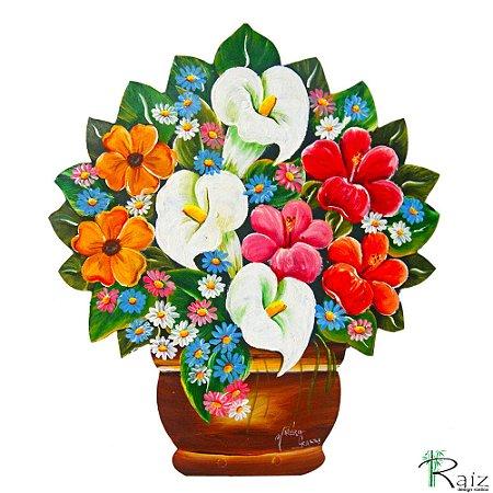 Quadro Vaso de Flores Recortado em Chapa de Ferro