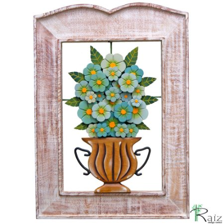 Quadro Vazado com Vaso de Flores Azuis