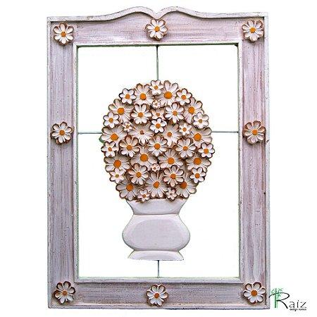 Quadro Vazado Vaso de Flores Rústico (83 x 60)cm