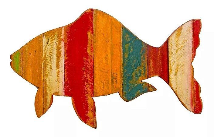Quadro Artesanal Peixe Em Madeira De Demolição