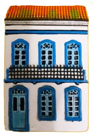 Fachada Ouro Preto Réplica Casa Sobrado 2 andares Azul10cm
