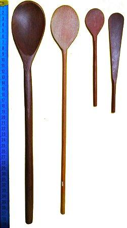 Kit Colheres de Pau de Madeira 1 Colher Tradicional, 1 Pá de Suco, 2 Espátulas