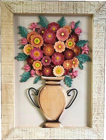 Quadro Vaso de Flores Vinho com Botões Moldura Patinada 80x60cm