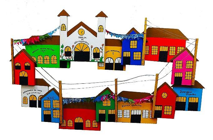 Quadro Vila Com Casas, Igreja E Comércio Vazado