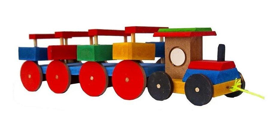 Brinquedo Educativo Trem Trenzinho Gira os Toquinho Enquanto Anda Madeira