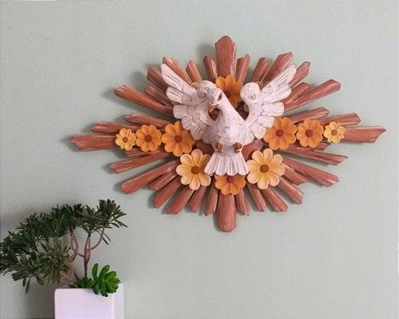 Divino Espírito Santo Com Flores Resplentos Natural Linha Luxo 46 cm