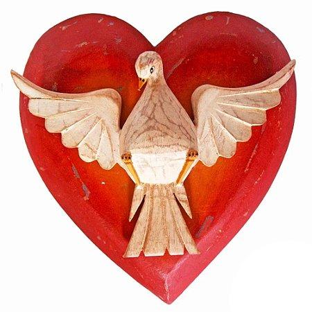 Divino Espírito Santo Coração Madeira Luxo