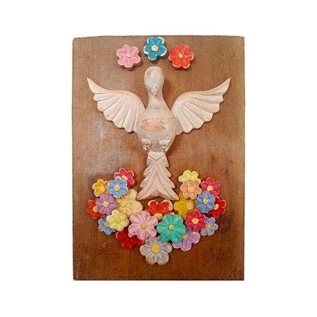 Quadro Divino Espírito Santo Flores Color Madeira Natural