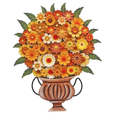 Quadro Vaso De Flores Recortado Ânfora Madeira (62x56)cm