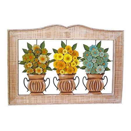 Quadro Vazado Três Vasos De Flores Coloridas