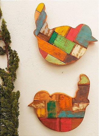 Quadro Decorativo Pássaro em Madeira de Demolição Cada Peça Possui 35x37 cm (Preço Unitário)
