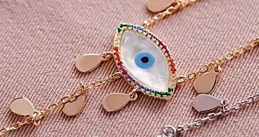 Colar Olho Grego em Prata 925 com banho de Ouro e zircônias