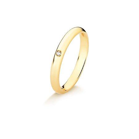 Aliança Tubo Air em Ouro 18K anatômica arredondada 3mm com Diamante de 1,5 ponto (A15.164.7)