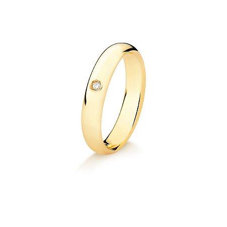 Aliança Tubo Air em Ouro 18K anatômica arredondada 4mm com Diamante de 2 pontos (A15.164.3)