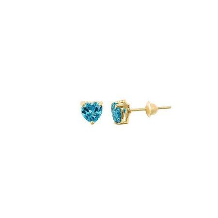 Brinco em Ouro Amarelo 18K e Topázio Azul cor paraíba A01043659