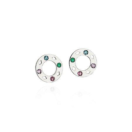 Brincos Colors collab Klara Castanho com Pedras Preciosas Naturais (Ametistas, Topázios Azuis e Crisoprásios) e Prata 925 com banho de ródio (CBR003)