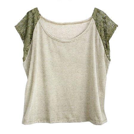 Outlet Blusa Camiseta Feminina Plus Size Manga Renda - Ateliê Acaso ... aa7558238f0