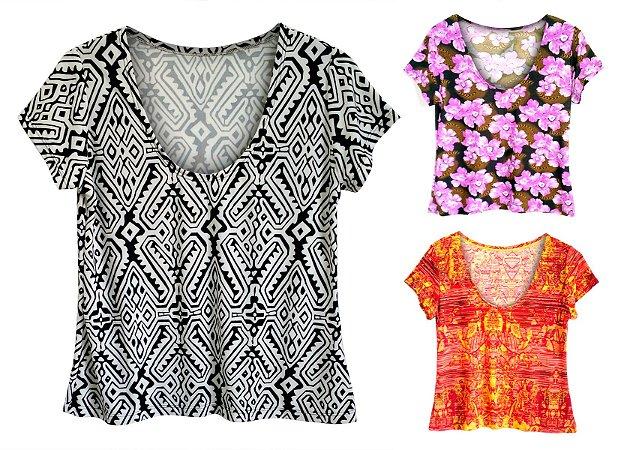 Kit Camisetas Baby Look Feminina Estampadas
