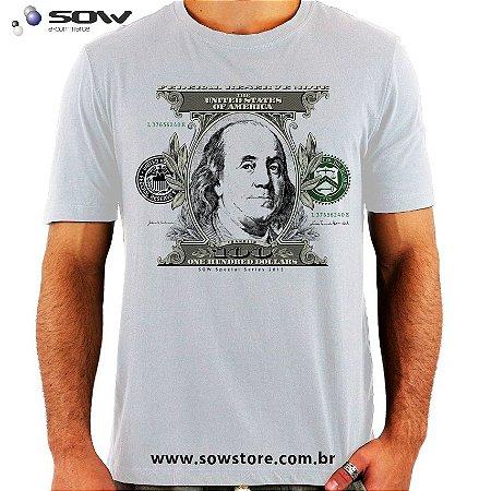 Camiseta Money - 100 Dollars Bill - Vários Modelos