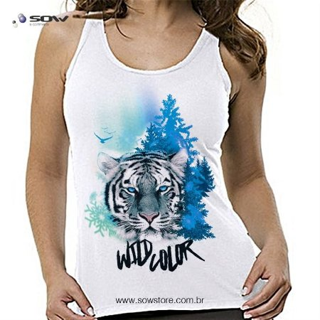 Camiseta Tigre Branco - Wild Color - Vários Modelos