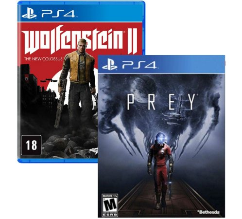 Kit Prey e Wolfenstein 2 PS4 MIDIAS FISICAS