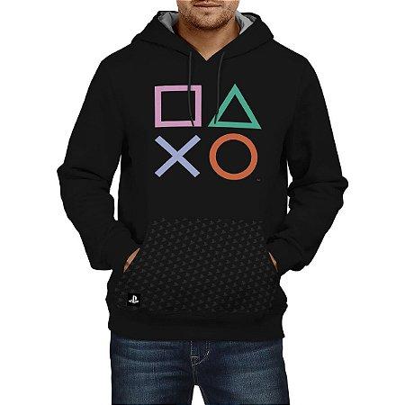 Blusa Moletom Playstation CLASSIC SYMBOLS HOOD (Produto Licenciado Sony)