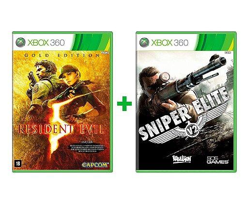 Kit Resident Evil 5 Gold + Sniper Elive V2 Xbox 360 Mídia Física