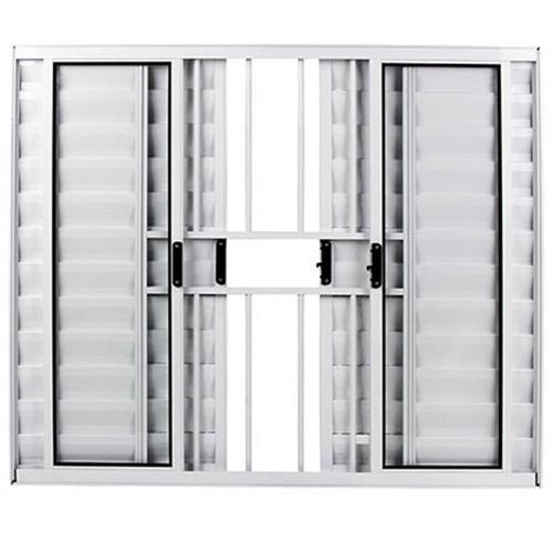 Veneziana em Aluminio branco com 06 folhas com grade