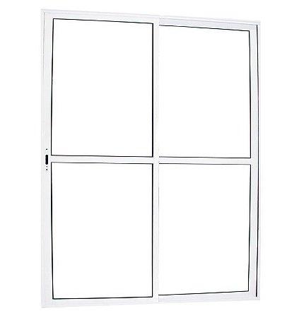 Porta Balcão de Aluminio branco 02 folhas C/Vidro