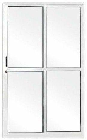 Porta Balcão de Alumínio branco 02 folhas com fechadura externa