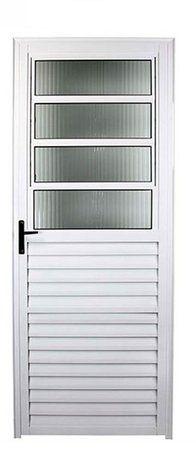 Porta Social Basculante Aluminio branco 03 Vidros articulados