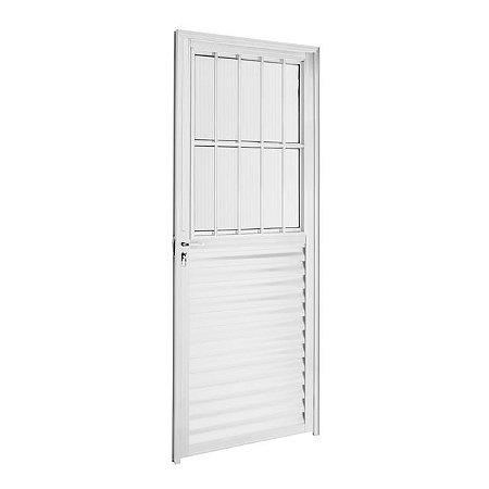Porta Social Basculante Aluminio branco 02 Vidros