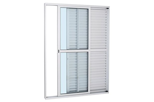Porta Balcao Aluminio Branco 03 folhas