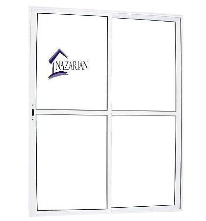 Porta sacada Aluminio Branco 02 folhas C/ Fechadura