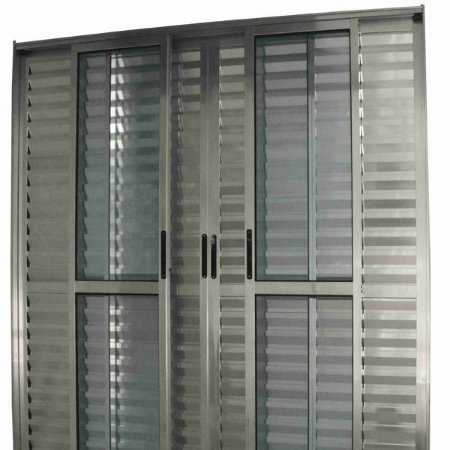 Porta Balcao Aluminio brilhante C/06 folhas