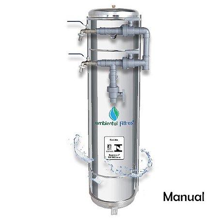 Filtro Central  - 1000 L/h a 1500 L/h em Aço Inox 304 com Válvula Manual
