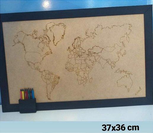 Quadro Mapa Mundi (MDF)