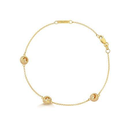 Pulseira Mini Fênix Ouro Amarelo 150 Diamantes