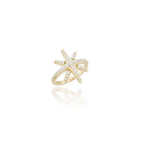 Anel Estrela em Prata com Banho de Ouro Amarelo