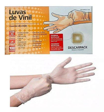 LUVA DE PROCEDIMENTO DE VINIL COM TALCO CX100 UNID DESCARPACK