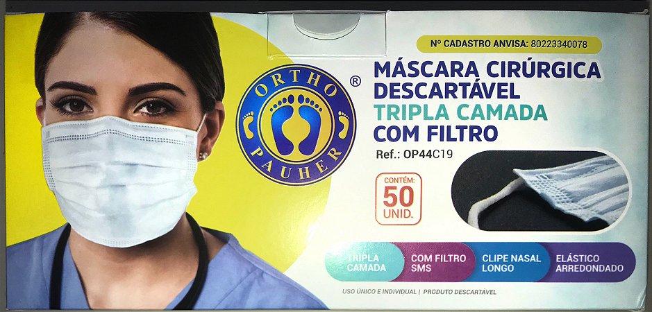 MASCARA CIRÚRGICA TRIPLA DESCARTÁVEL COM 50 UNIDADES
