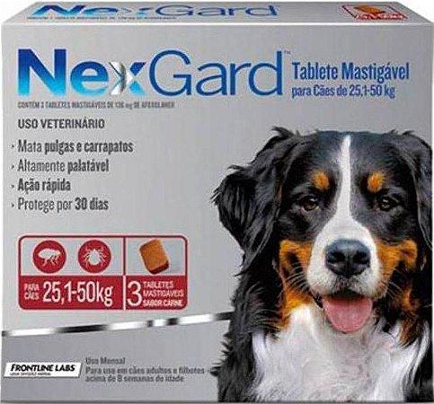 Antipulgas e Carrapatos NexGard para Cães de 25,1 a 50 kg Com 3 Tabletes
