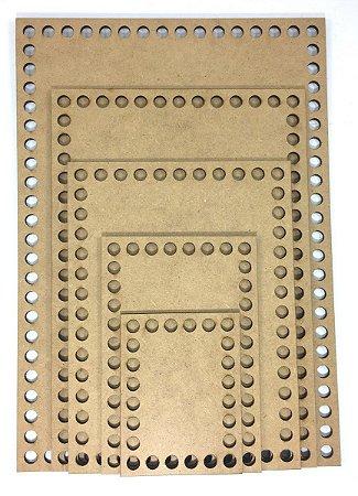 Kit De Base De Mdf Para Crochê Retangular Com 5 Tamanhos