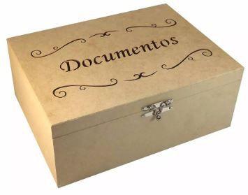 Caixa Porta Documentos Laser De Mdf  -  33 X 24 X 13 Cm