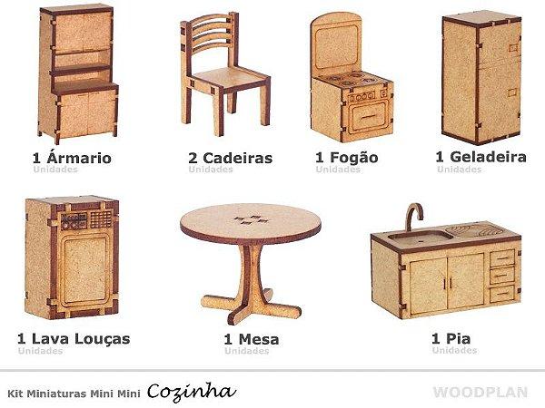 Kit Miniatura Cozinha 8 Peças Geladeira Fogão Mesa Pia Mdf