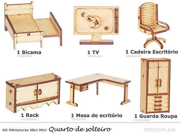 Kit Miniatura Quarto Solteiro 6 Peças Escritório Cama Mdf