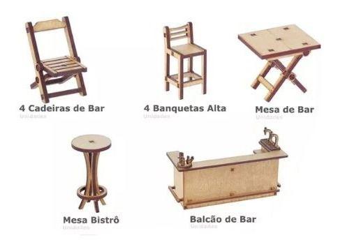 Kit Miniatura Bar Barzinho 11 Peças Mesa Balcão Bistrô Mdf